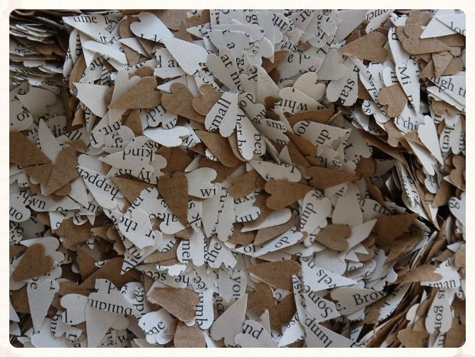 Heart Confetti. small book and brown paper heart cut-outs ideal to fill your confetti cones or sprinkle on your wedding reception tables. www.picketfenceweddings.co.uk