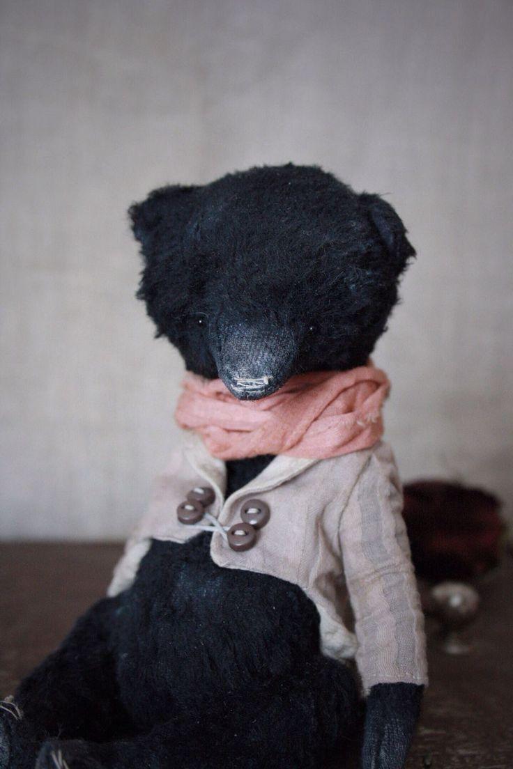 Купить Петербуржец - мишка, мишка тедди, тедди, Петербург, черныш, teddy bear, вискоза Шульте