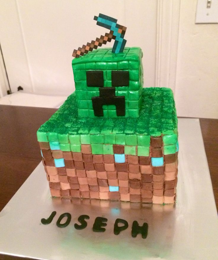 Minecraft Cake Creeper Diamond Pick Axe Learning To