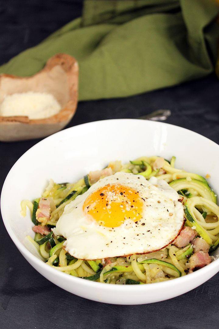 Healthy Zucchini Pasta Carbonara | Recipes | Pinterest
