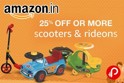 Amazon is offering 25% off on Scooters and Rideons & Bikes, Trikes and Wheel Magic Car.  http://www.paisebachaoindia.com/scooters-and-rideons-bikes-trikes-wheel-magic-car-25-off-amazon/