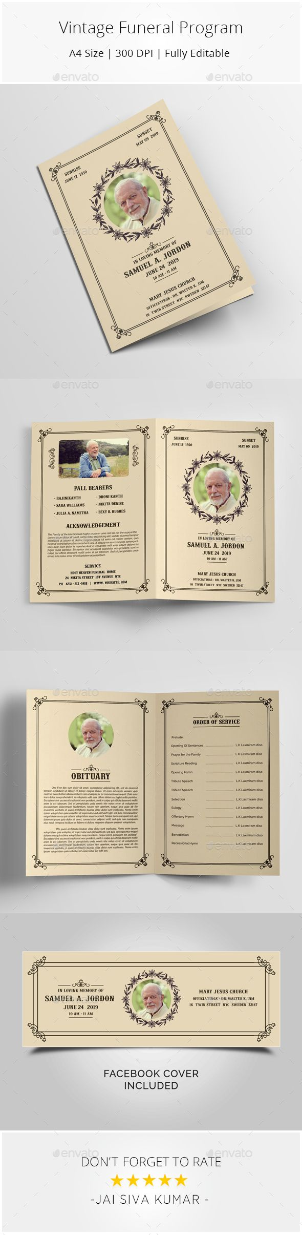 Vintage Funeral Program Template #funeral service program #church bulletin  • Download here → https://graphicriver.net/item/vintage-funeral-program-template/21220099?ref=pxcr