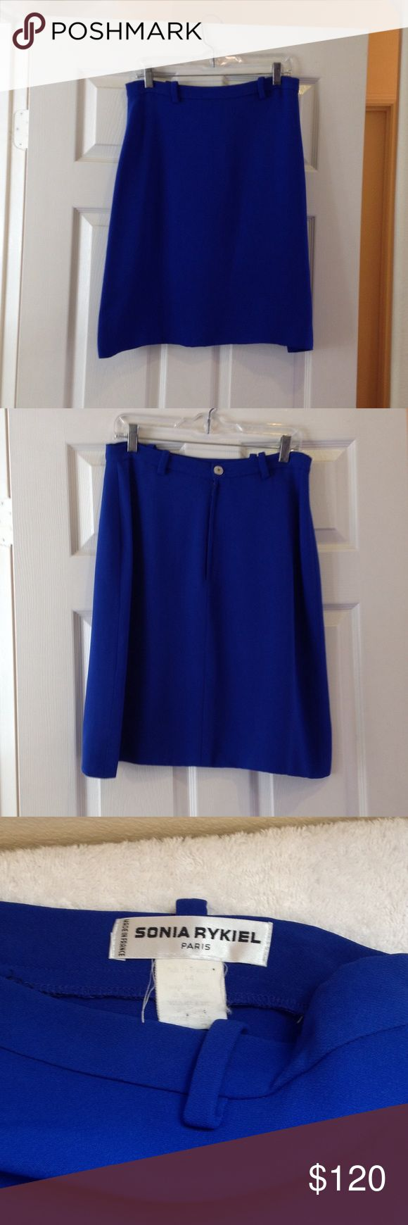 "Sonia Rykiel cobalt blue skirt. Size 44 euro. Sonia Rykiel women's cobalt blue skirt. 54% rayon; 43% viscose. Zipper and button closure in back. 31"" waist; 23.5"" length. Size 44 euro. Sonia Rykiel Skirts"