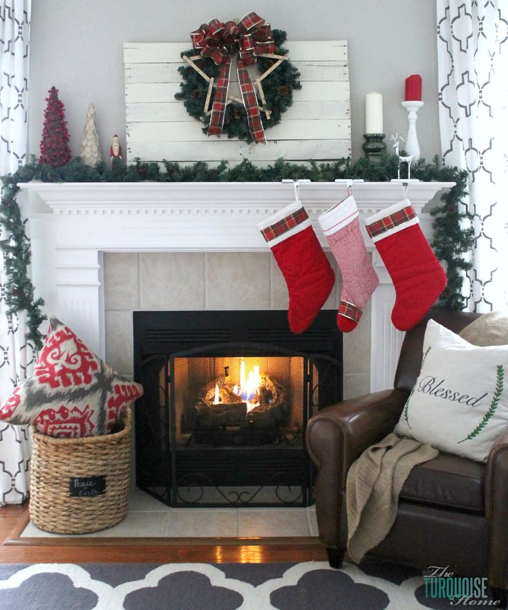Traditional Red & Green Christmas Mantel