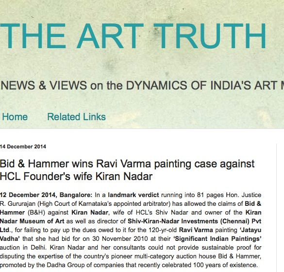 Bid & Hammer wins Ravi Varma painting case against HCL Founder's wife Kiran Nadar, 14th Dec 2015, The Art Truth