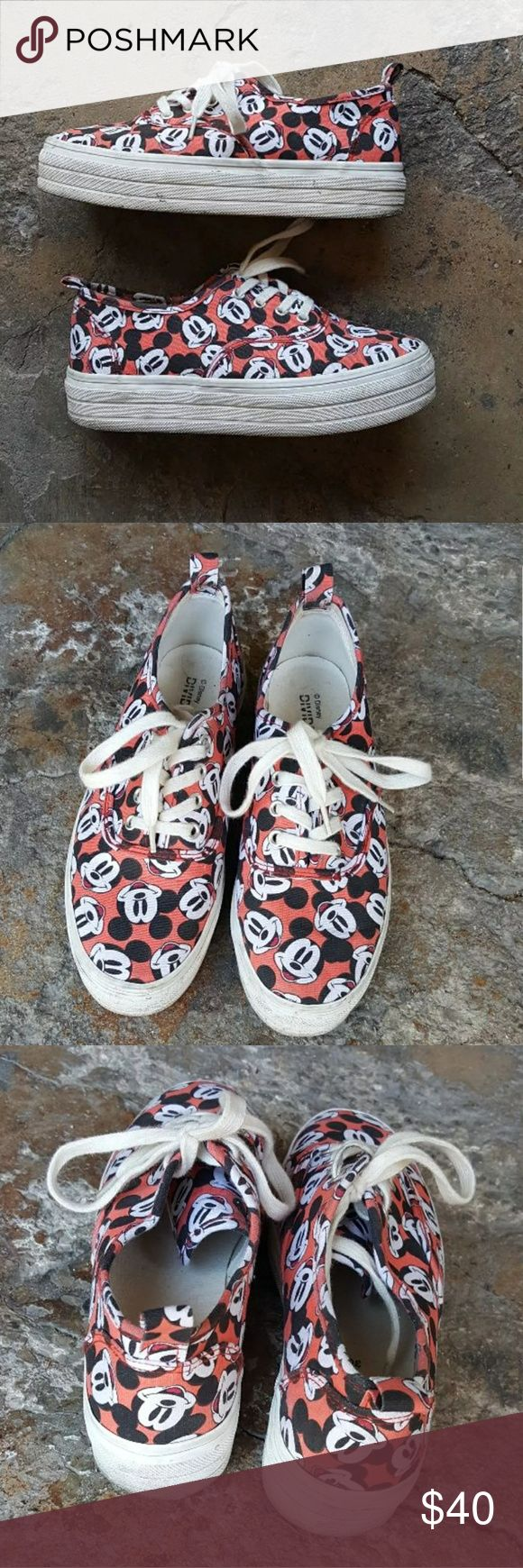 Platform Mickey mouse sneakers Platform Mickey Mouse sneakers. Gently loved. Marked size 5.5 but I'm a 7 and my toes are right at the edge so I'd say it'd also fit a 6 or smaller 6.5 comfortably. #mickeymouse #disney #platforms #platformsneakers Shoes Sneakers