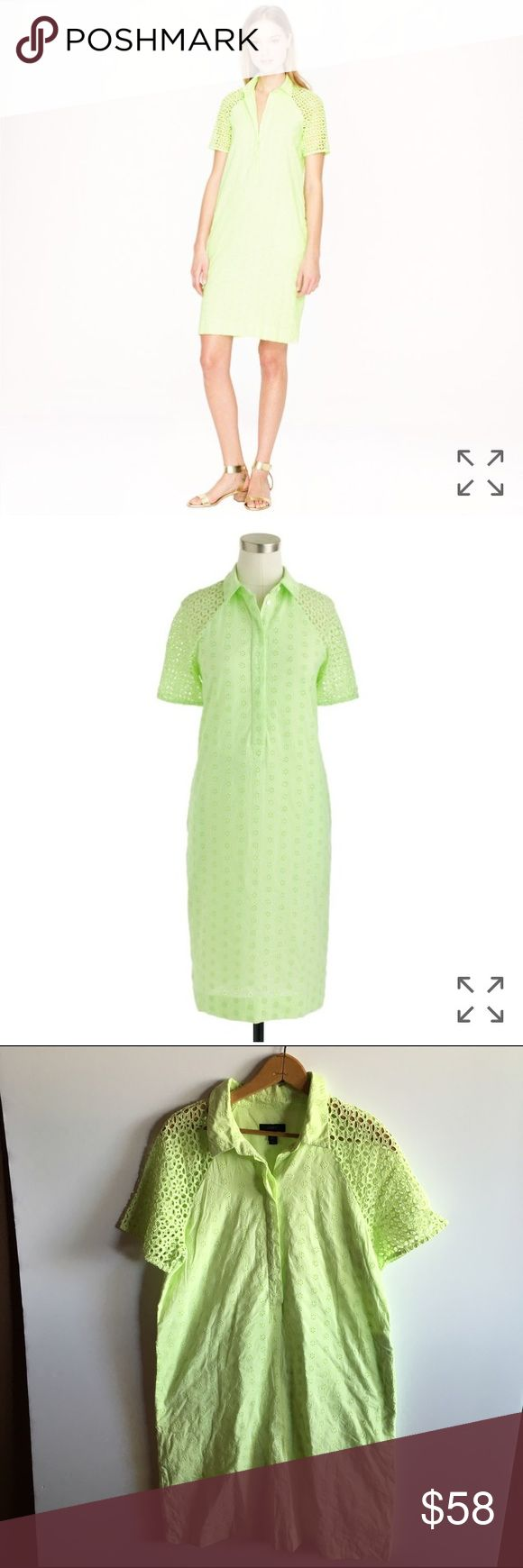 J. Crew eyelet shirtdress %100 cotton neon green Neon light green eyelet shirt dress. Still available online! Fully lined. Bust 40 length 35.5 has pockets! Gently worn J. Crew Dresses