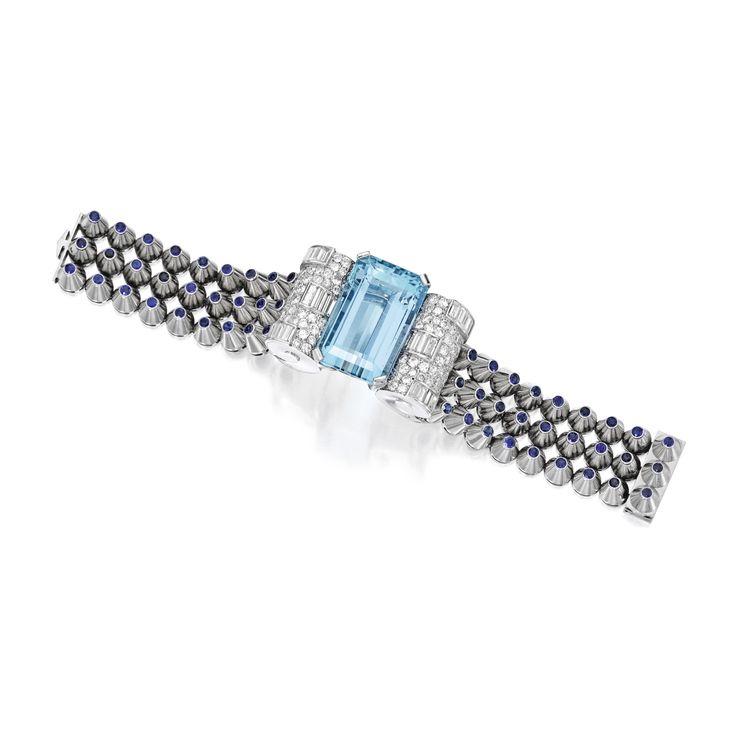 Platinum, 18 Karat White Gold, Aquamarine, Sapphire and Diamond Bracelet, Mauboussin, Paris