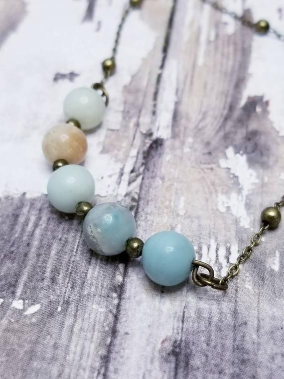 Amazonite Necklace For Minimalist Blue Chakra Healing Stone