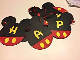 Amazon.com: Mickey Mouse Birthday Banner | Mickey mouse Birthday Decorations | Happy Birthday Banner | Mickey mouse birthday | Mickey Mouse Party Supplies | Disney 1st birthday | Card Stock Banner #CARD_BAN_2: Toys & Games