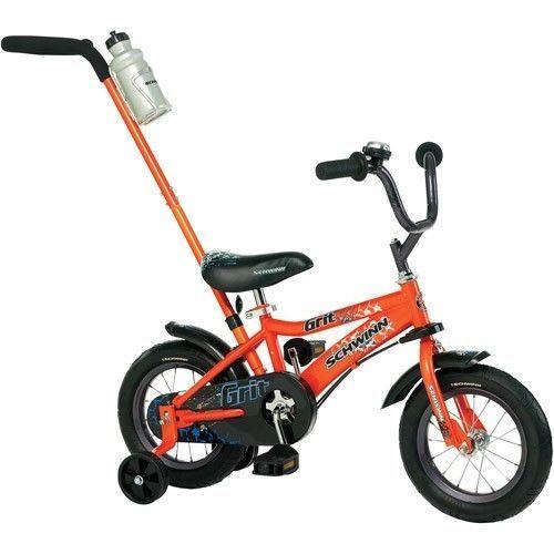 12 Inch Boys Bike Orange Removable Push Handle Training Wheels Wide Tires Fender #Schwinn