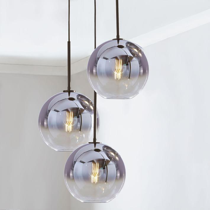 Sculptural Glass 3 Light Round Globe Chandelier Medium Globe Silver Ombre Shade Bronze Canopy 3 Light Chandelier Globe Lights Glass Pendant Light