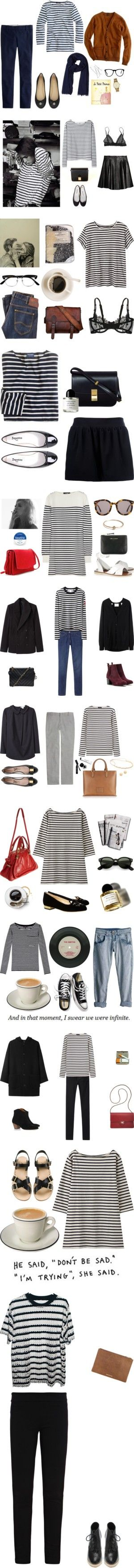 """breton stripe"" by calivintage ❤ liked on Polyvore"