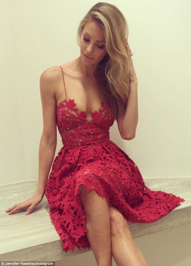 Jennifer Hawkins in low-cut red dress to announce Myer's Christmas windows unveil | Daily Mail Online