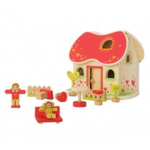 EVEREARTH FAIRY TALE DOLLS HOUSE-The charming and detailed fairy tale doll house by EverEarth will captivate your little girl's imagination!  Includes two wooden dolls, trees, welcome sign, table & chairs, sofa, fence and front opening facia with lift off roof for easy play access. A must have for every little girl! #alltotstreasures #everearth #woodentoys #fairy #dollshouse