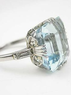 Classic Vintage Aquamarine Ring, RG-2785 Maxine- this is sooo us. Bling-tastic!!