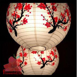 klassieke chinese stijl gekleurde tekening korte papier lamp hanglamp papieren deksel van de lamp papieren lantaarn licht 40cm studie
