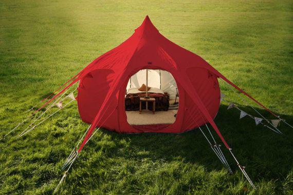 tipi di Lotus Belle Outback tenda rossa 13ft, yurta, burning man, tenda a campana