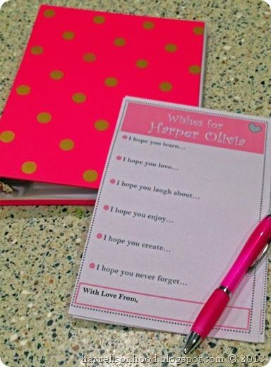 Baby shower game or activity.  Have guests write wishes for the baby.  Free printable for baby girl or boy.