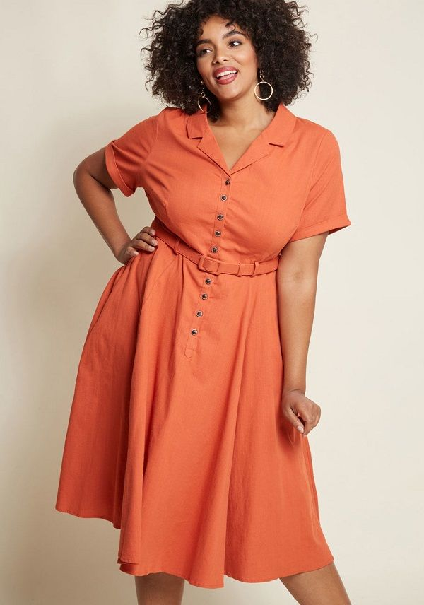 688deea804c5 Coral Cocktail Dress Plus Size - This coral shirt dress is available in plus  sizes and is a retro style cocktail dress- #PlusSizeCoralCocktailDresses ...