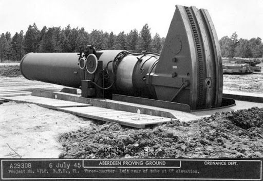 """""""Little David"""" 36 inch (914 mm) mortar emplacement at Aberdeen Proving Ground, Maryland."""