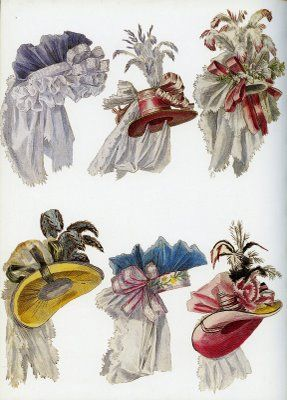 Various head pieces designed by Marie Antoinette's fashion minister, Rose Bertin
