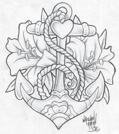 Anchor Sketch With Rose Anchor flowers tattoo design
