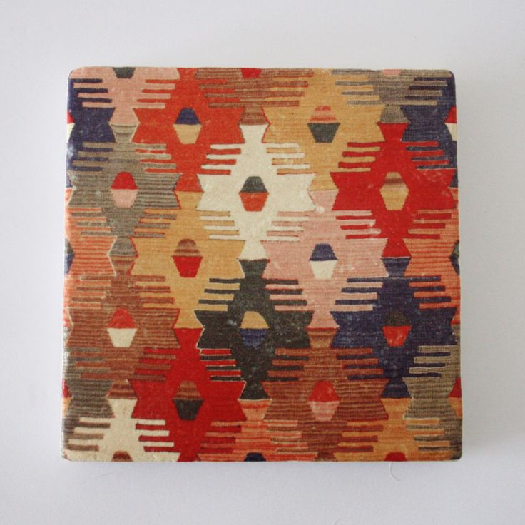 Turkish Woven Kilim Print Travertine Stone Coaster