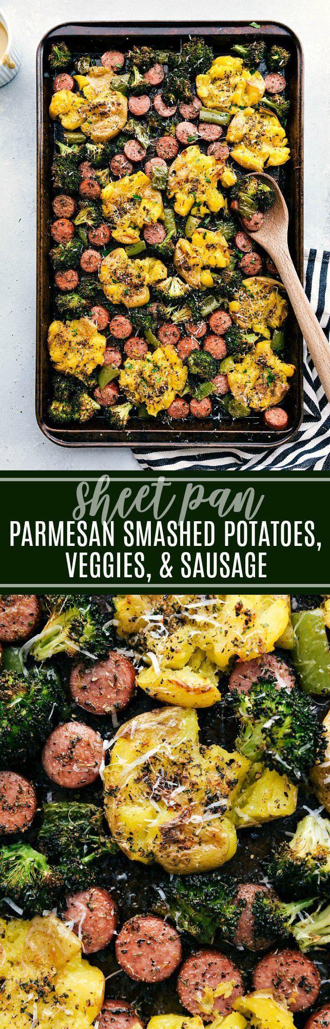 SHEET PAN Italian Sausage, Roasted Veggies, and Crispy Garlic Parmesan Smashed Potatoes! chelseasmessyapron.com #crispy #smashed #garlic #potatoes #veggies #sausage #easy #italian #quick #dinner #kidfriendly #parmesan #fast #prep #broccoli #pepper #herbs