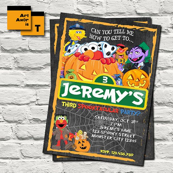 Elmo Halloween Birthday Invitation Elmo Halloween by ArtAmoris