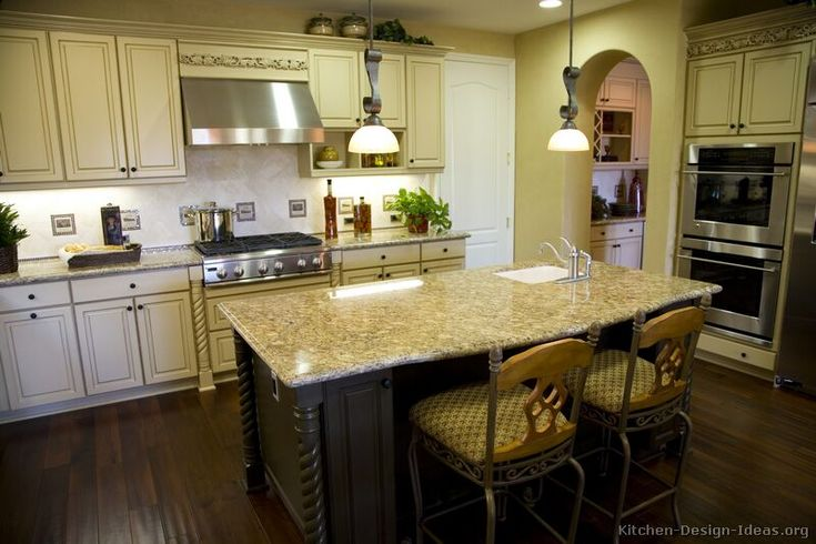 78 images about antique white kitchens on pinterest two for Antique white kitchen cabinets with dark wood floors