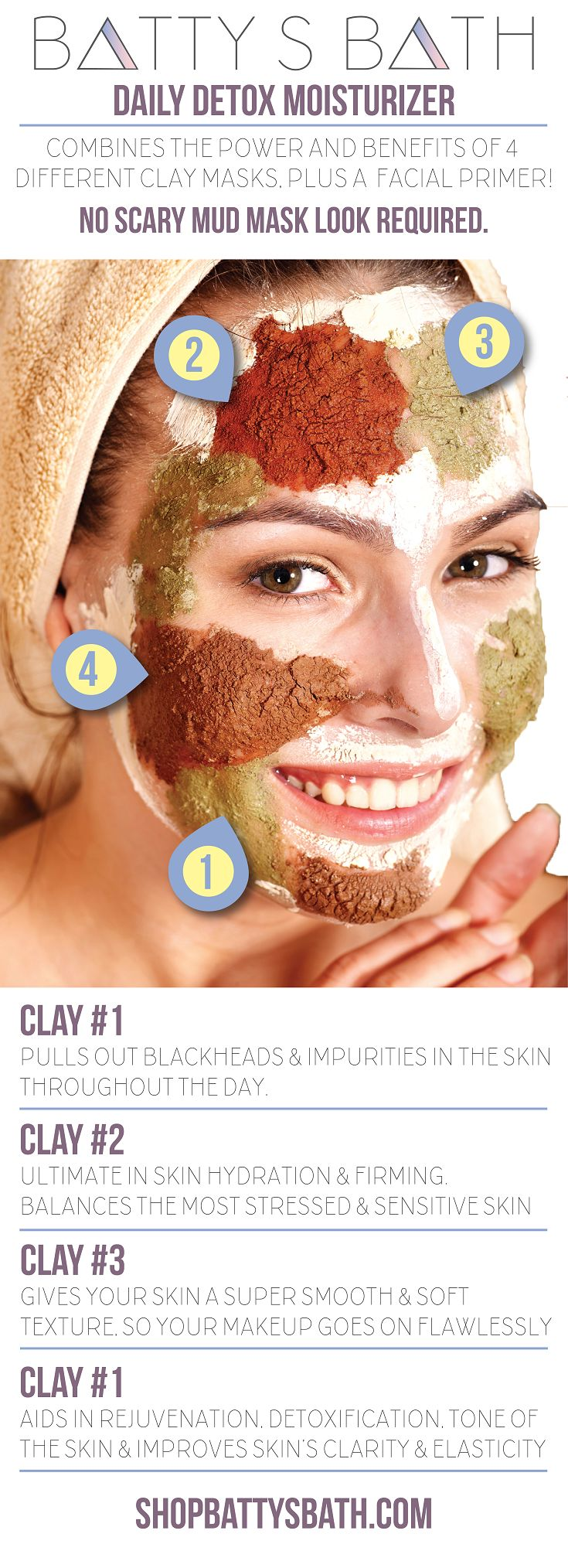 4 Mud Masks rolled in 1 facial moisturizer - Daily Detox Moisturizer -   100% natural and pure by Batty's Bath cruelty free skin care and cosmetics