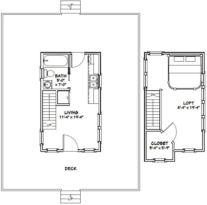 12x20 Tiny House 12x20h3b 464 Sq Ft Excellent Floor Plans Floor Plans Shed Plans Tiny House Floor Plans