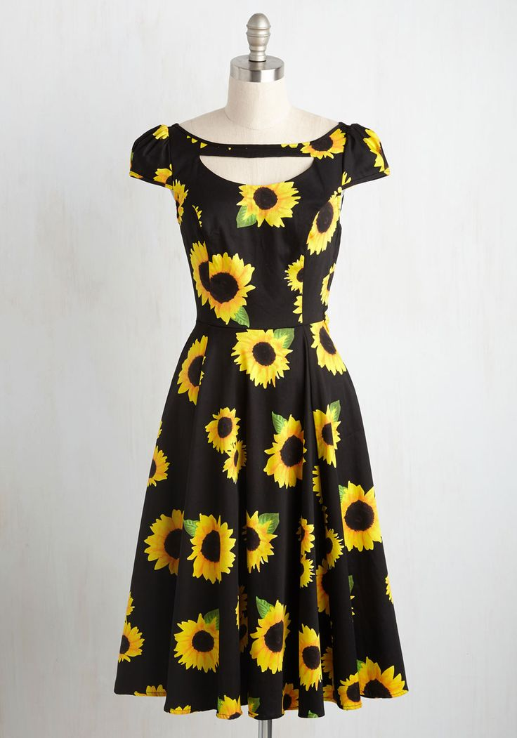 The Philadelphia Glory Dress - Black, Yellow, Floral, Print, Daytime Party, Pinup, Short Sleeves, Summer, Woven, Best, Cotton, Cutout, Vintage Inspired, 50s, Fit & Flare