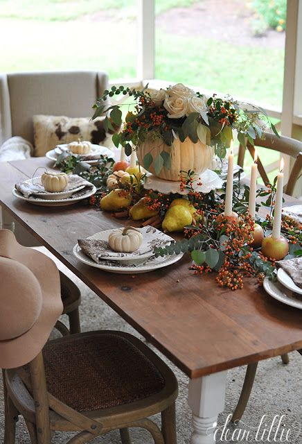 An easy and inexpensive arrangement for an autumn or Cheap thanksgiving table setting ideas