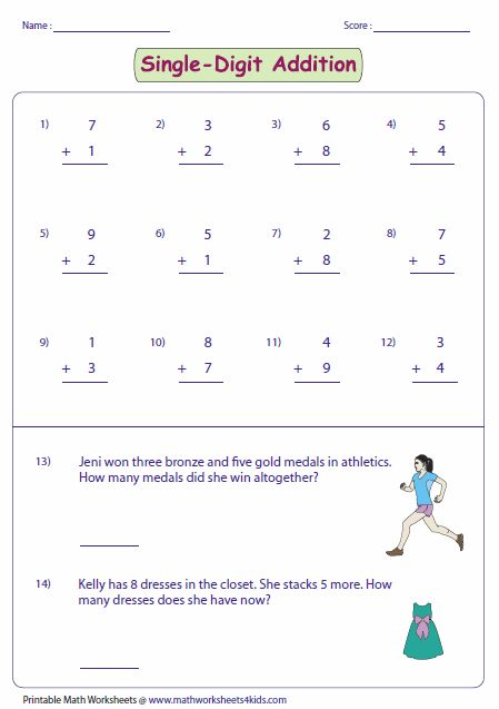 It Contains More Than 100 Single Digit Addition Worksheets