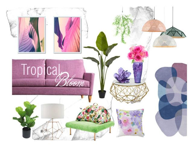 Tropical Living Room by kacix on Polyvore featuring interior, interiors, interior design, home, home decor, interior decorating, nuLOOM, Daum, Bluebellgray and Threshold