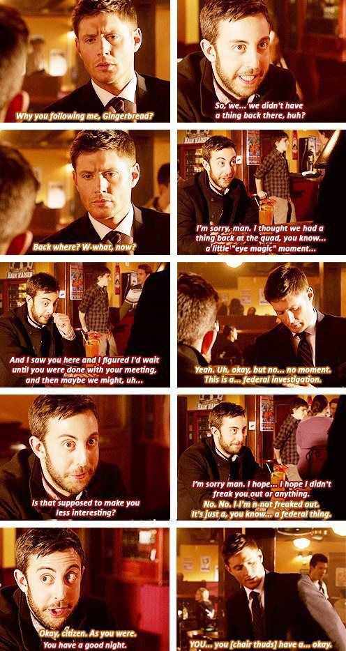 Everybody Hates Hitler, S8. Oh gosh, this scene had me crying!! Dean was so freaked out and turned into a total clumsy bumbling idiot. I literally re-watched this scene at least 5 times. Made my day...