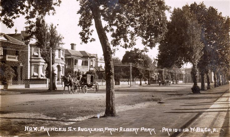 Princes Street, Auckland from Albert Park. Postcard dated the 10th January 1913 by W.B & Co, Auckland.