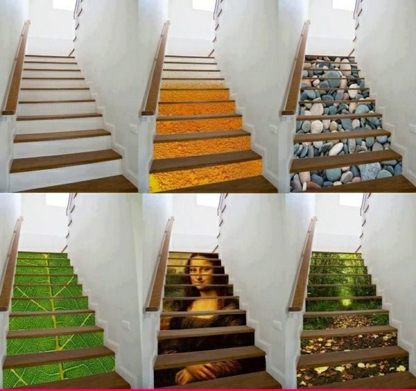 Treppe Deko Wandsticker Wald Steine Mona