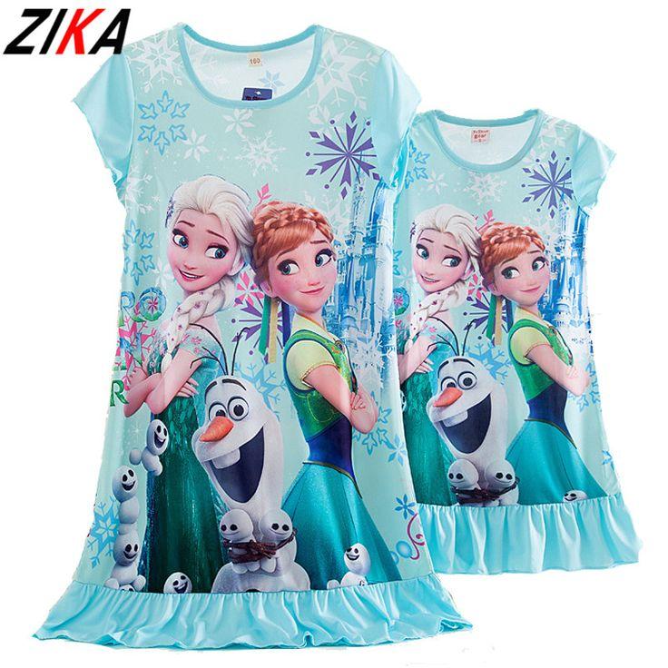 ZIKA MotherDaughter Pajamas Elsa Anna Snow White Rapunzel Princess Nightdress Family Matching Clothes Summer Milk Silk Sleepwear #Affiliate