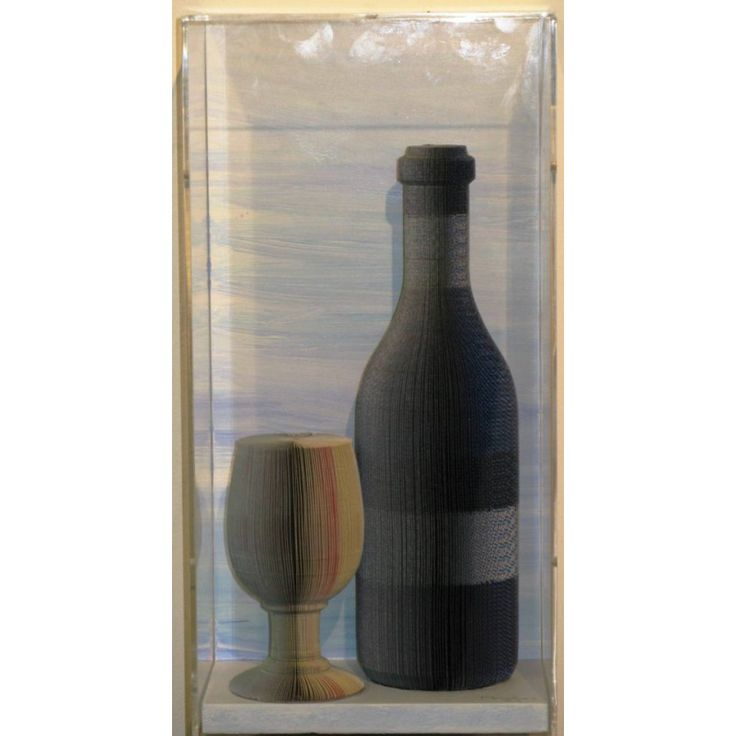 """Pavlos Dionyssopoulos (1930).        """"Bottle and Glass"""", 2002. Paper in plexiglass.  Dimensions: 38X18X14 cm Stoa Antiques"""