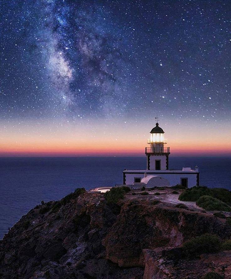 Amazing milky way at the lighthouse of Akrotiri, Santorini Greece