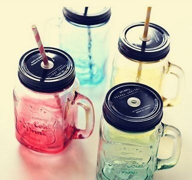 Copo Jarra Mason Jar Ice Cold Drink Azul Degradê- Lojatip - Loja Tip - Dicas de presentes criativos | originais