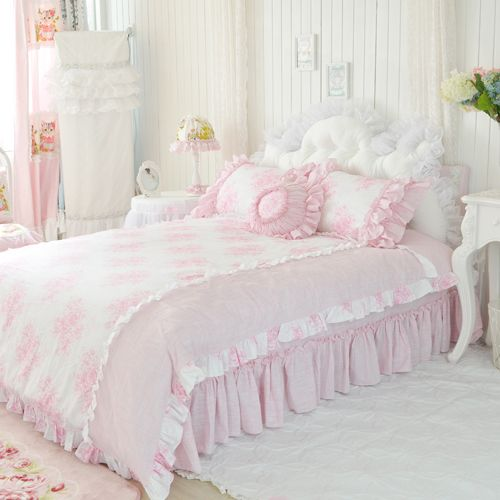 Beautydream bedding pink 100% cotton four piece set 100% cotton bedding duvet cover bedspread $225.96
