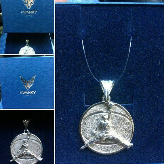 Basketball pendant Michael Jordan necklace Coach gift player 925 Sterling silver sport Jumpman jewelry Basketball gift for man boyfriend