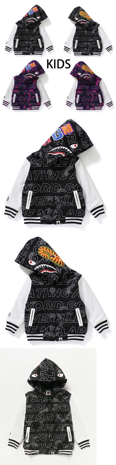 Sweatshirts and Hoodies 155200: A Bathing Ape Bape Kids Text Color Camo Shark Varsity Hoodie Jacket 2Colors New -> BUY IT NOW ONLY: $295 on eBay!