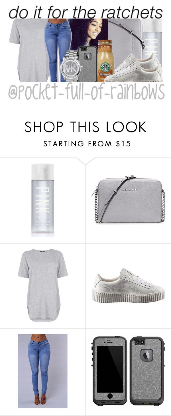 """Last Night I Had A Paranormal Activity "" by pocket-full-of-rainbows ❤ liked on Polyvore featuring Victoria's Secret PINK, MICHAEL Michael Kors, Topshop, Puma, LifeProof and Michael Kors"