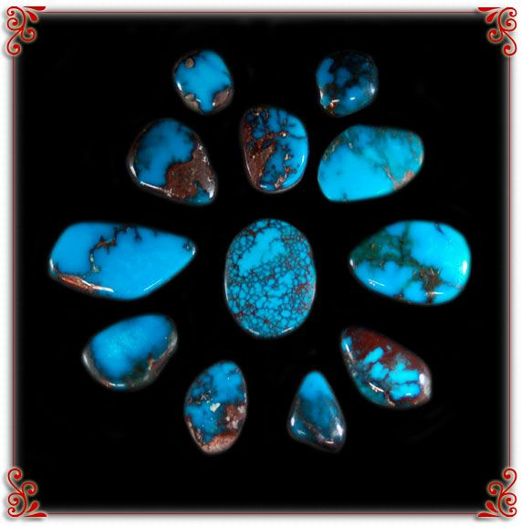 Red Webbed Bisbee Turquoise Cabochons ~ This photo will lead you to a slide show of more exciting photos of Bisbee Turquoise from Durango Silver Company.
