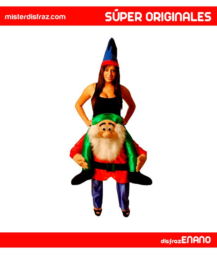 Disfraz de Enano o Gnomo Pillín a Hombros para Adulto. Seguro que con este disfraz tan original de Enanito podrás crear un grupo y perseguir a la Malvada Reina para que Blancanieves no corra ningún peligro. Un disfraz muy gracioso para Grupos. #disfraz #disfraces #disfracessuperoriginales #disfracesdivertidos #disfracescachondos #disfracesgraciosos #disfrazenanoahombros #enanoahombros #carnaval #misterdisfraz